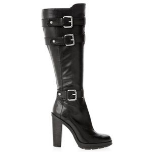 Guess Black Biker Buckle Leather Boots Size 6.5
